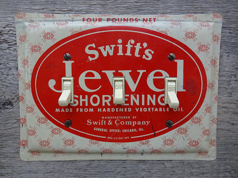 Vintage Swifts Jewel Shortening Tin Triple Switch Plate TP-4040