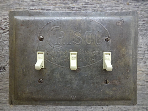 Triple Switch Plates Made From Vintage Crisco Baking Cake Metal Pans