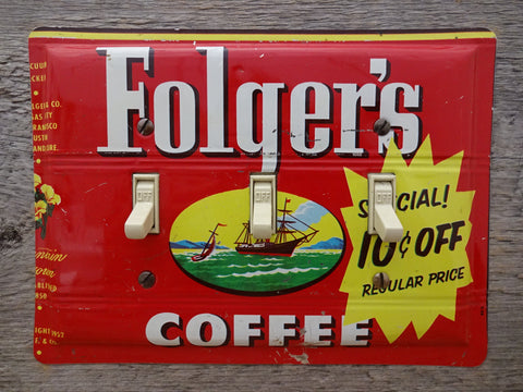 Vintage Folgers Coffee Tins Light Switch Plates