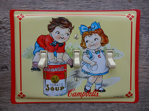 Triple Switch Plates Made From Campbells Soup Kids Tins