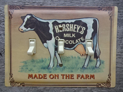 Triple Switch Plates Made From Hersheys Chocolate Tins With Cow