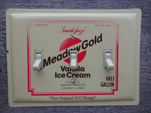 Light Switch Covers Made From Reproduction Meadow Gold Ice Cream Tins