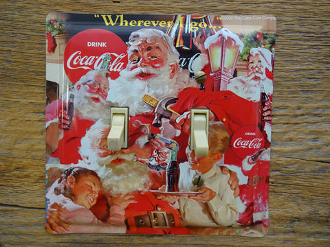 Holiday Switch Plates Made From Christmas Coca Cola Tins