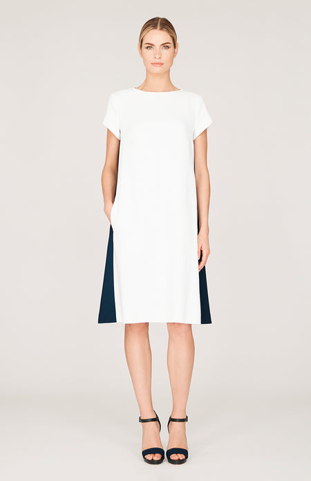 Square Jacquard Mock Neck Fitted Dress w/ Cap Sleeve