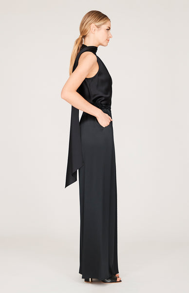 Satin One Shoulder Bias Top w/Scarf
