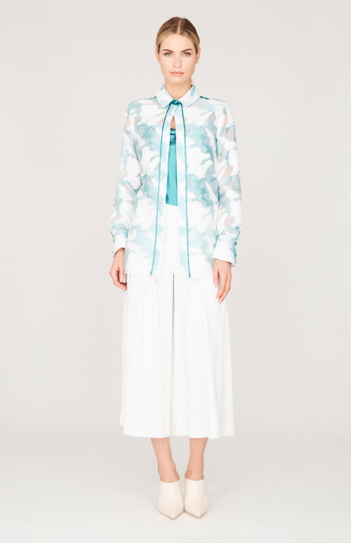 Cloud Jacquard High-Low Collared Button Down