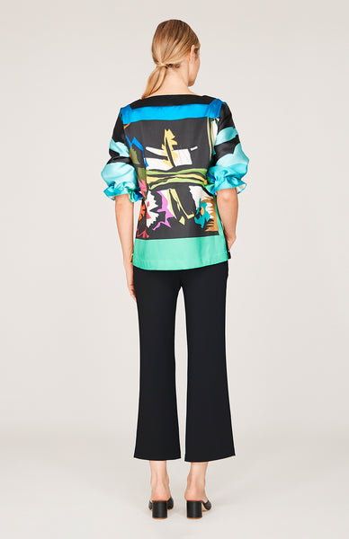 Modern Abstract Floral Pleat Sleeve Square Neck Blouse