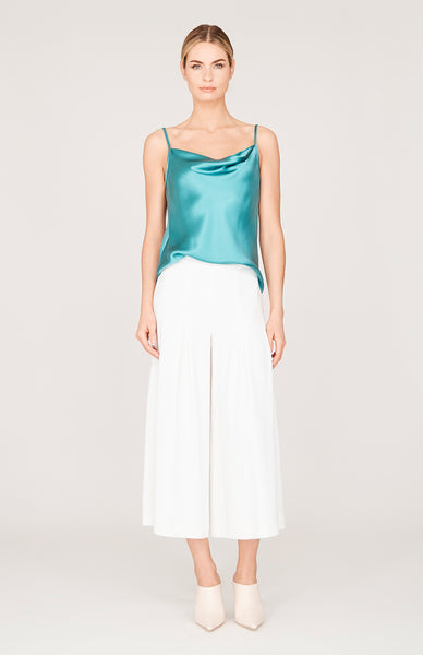 Stretch Base Wide Pleated Pants w/Side Zip