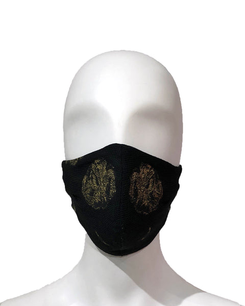 Golden Floral Lamé Face Mask - Black/Gold