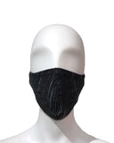 Embossed Metallic Stripe Face Mask - Charcoal