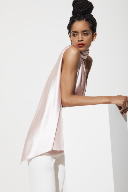 Fit and flare dress w/ satin contrast