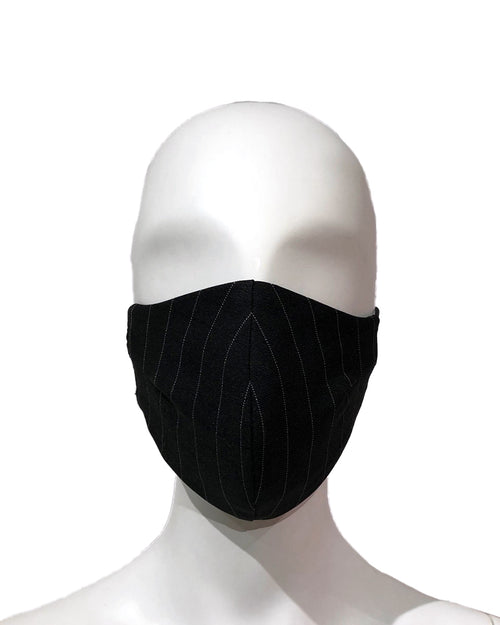 Striped Suiting Face Mask - Black