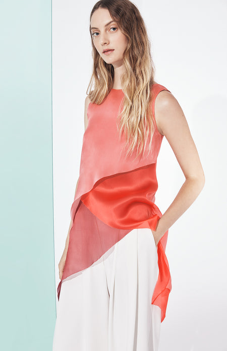 ONE SHOULDER BIAS DRESS WITH SATIN SCARF
