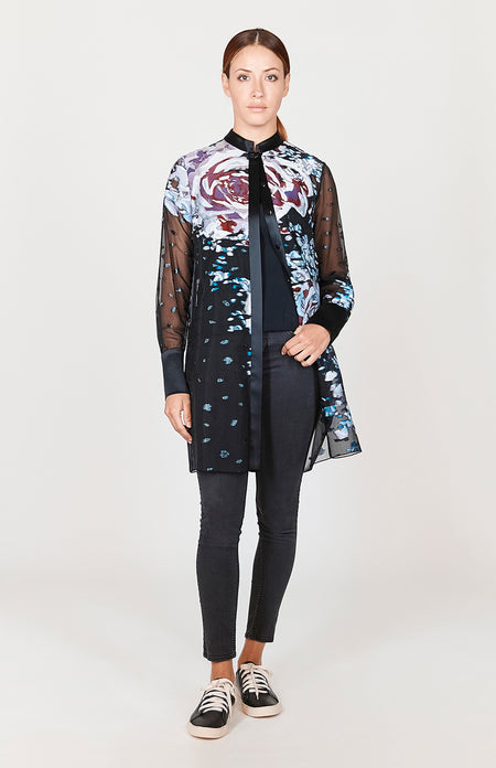 Macro Flora High-Low Mandarin Collar Blouse