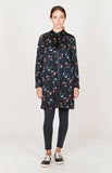 Micro Flora Long Mandarin Collar Blouse w/ Gathered Neck