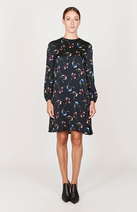 Modern Abstract Floral Cap Sleeve Dress