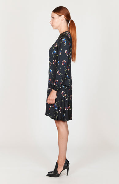 Micro Flora Side Pleated Dress