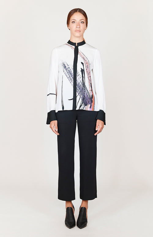 Abstract Brush Print High-low mandarin collar w/ relaxed sleeve - Capsule 2