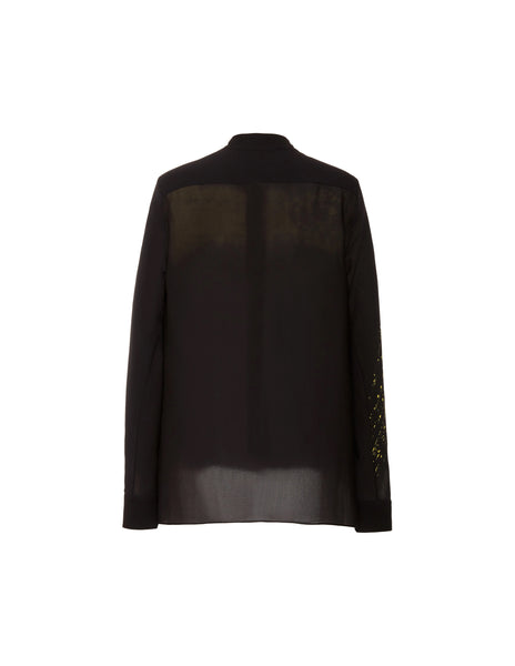 High-low mandarin collar shirt w/black banding
