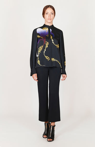 Macro Flora High-Low Mandarin Collar Blouse w/Relaxed Sleeve