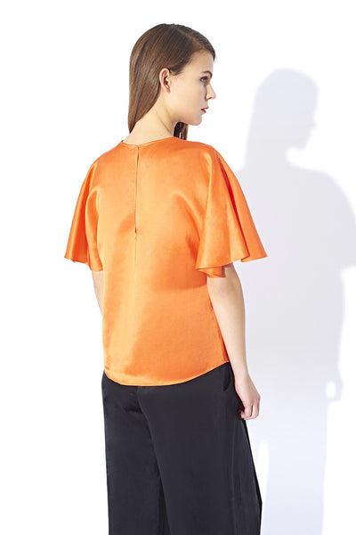 Pleat sleeve top with contrast