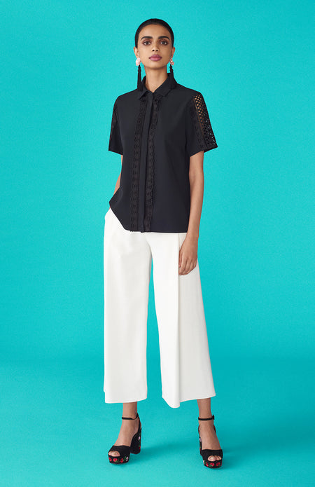 HIGH-LOW MANDARIN COLLAR SHIRT