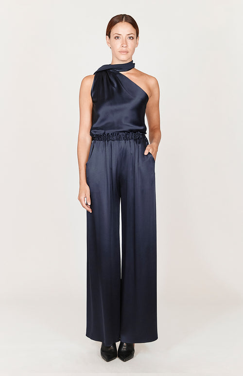 Satin One Shoulder Bias Top w/ Scarf - Capsule 3