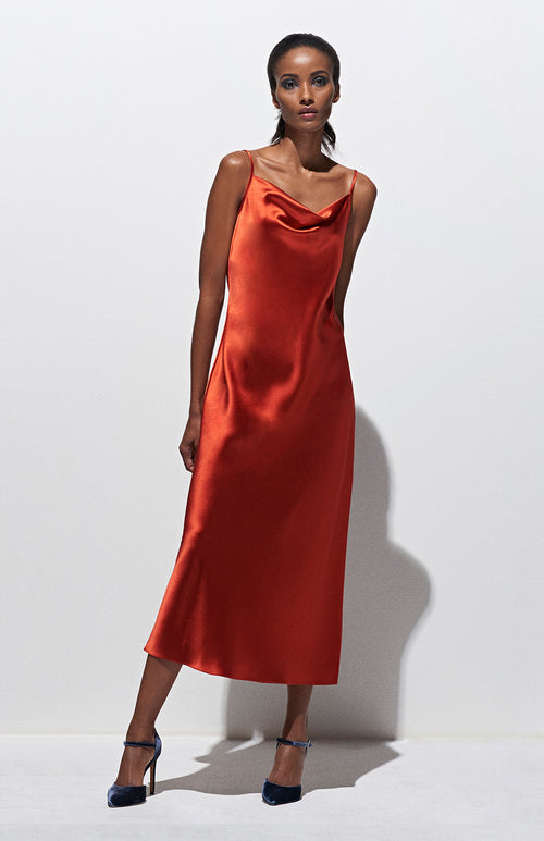 DRAPED SPAGHETTI STRAP BIAS DRESS