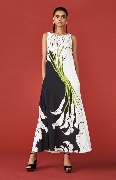 ONE SHOULDER GOWN- CALLA LILY PRINT