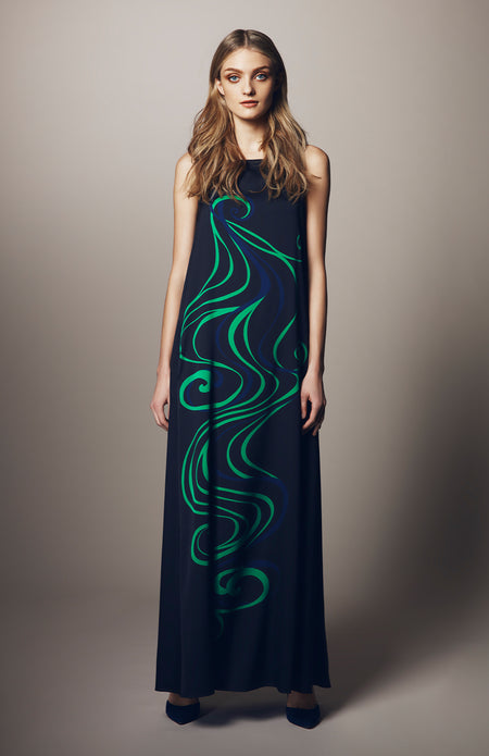 FAUX WRAP LONG DRESS