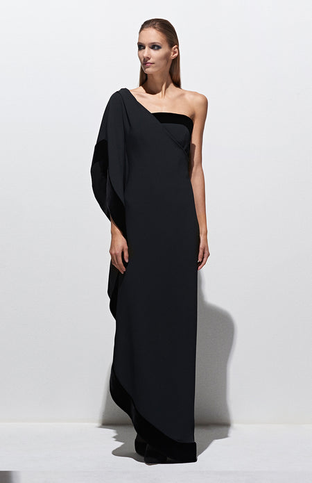 V NECK GOWN W/ CONTRAST PANELS