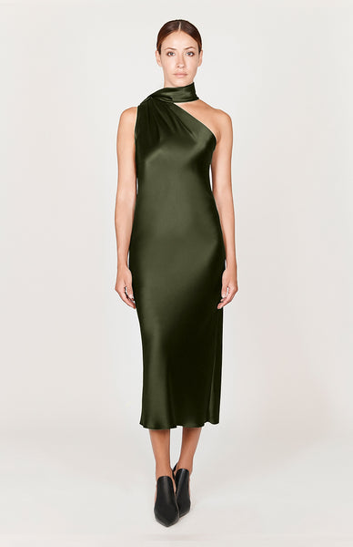 Satin One Shoulder Bias Dress w/ Scarf