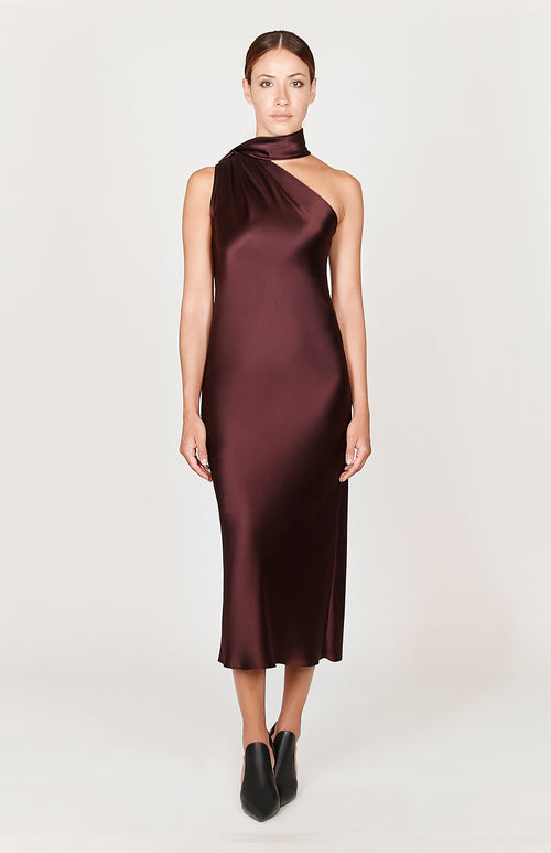 Satin One Shoulder Bias Dress w/ Scarf - Capsule 3