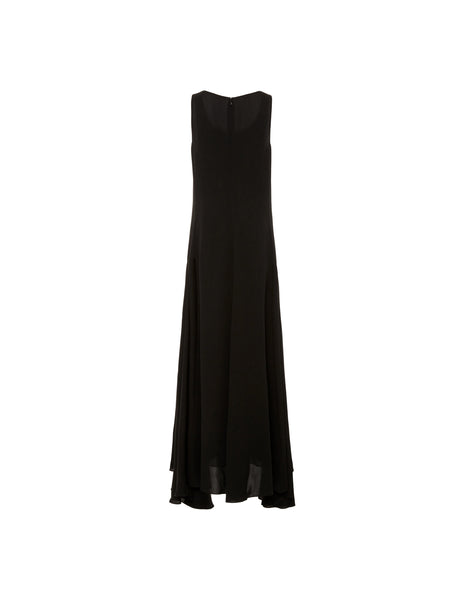Long trapeze dress w/ side pleats