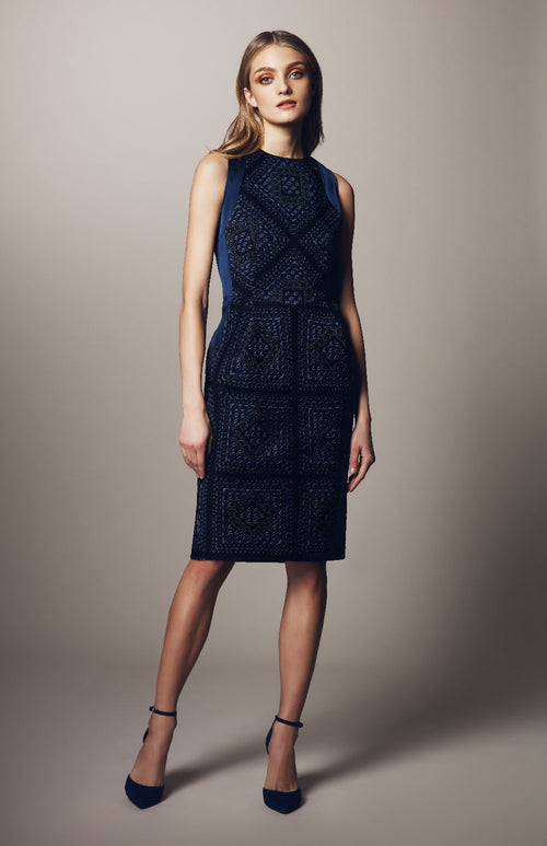 FITTED DRESS W/ CONTRAST PANELS