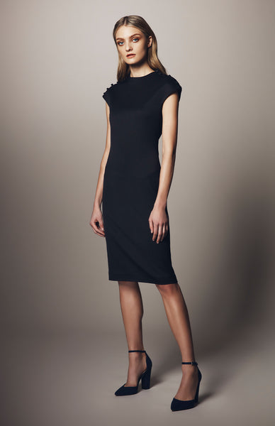 MOCK NECK DRESS W/ SATIN BUTTON