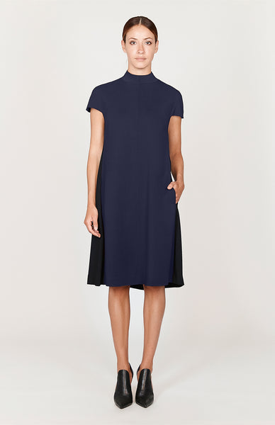 Stretch Base High Neck Cap Sleeve Swing Dress - Basics