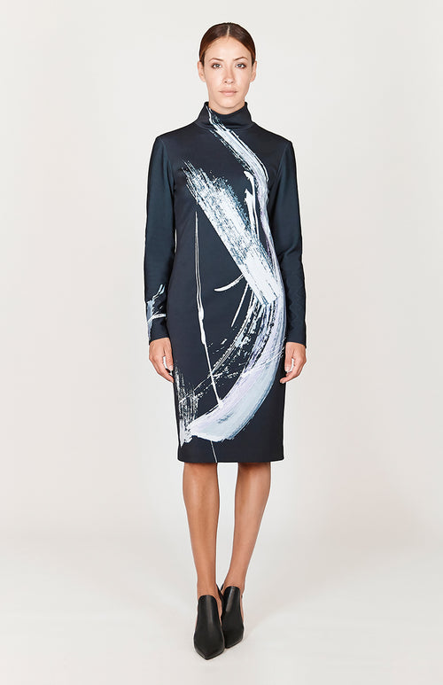 Abstract Brush Print Fitted Turtleneck Long Sleeve Dress