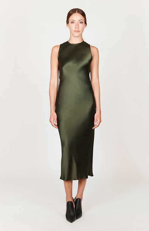 Satin Crew Neck Bias Dress - Capsule 3