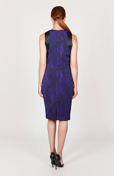Dotted Wave Sleeveless Fitted Dress w/ Contrast Panel