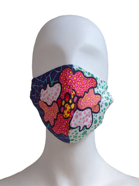Brushstroke Print Face Mask - Red/White