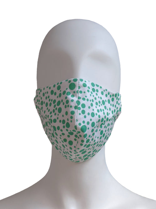 Floral Mosaic Print Face Mask - White/Green