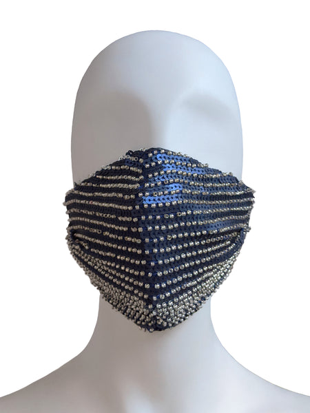 Beaded Sequin Face Mask - Blue