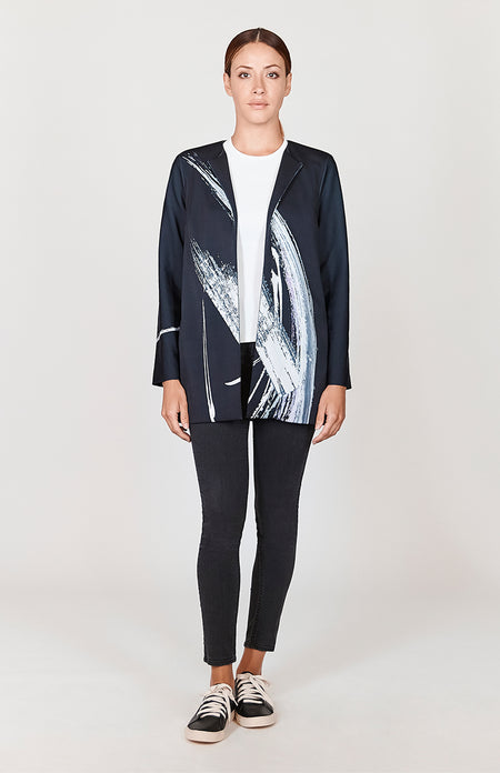 Abstract Brush Print Sukajan Jacket