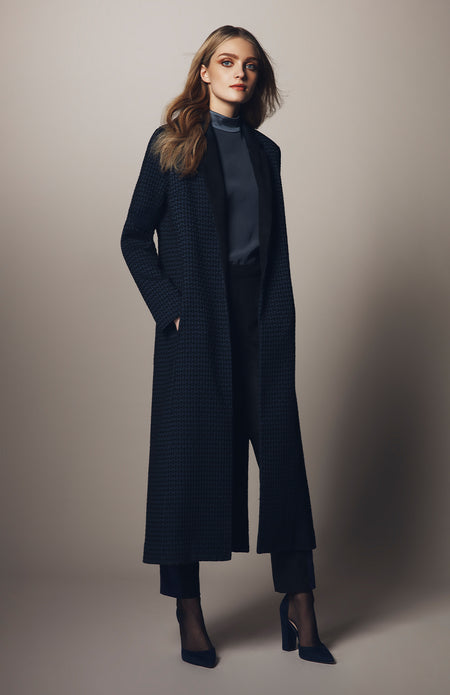 CLASSIC LONG COAT W/ FAUX SUEDE