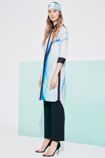 Mandarin collar long shirt