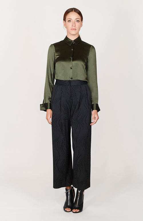 Dotted Wave Wide Pleated Pants
