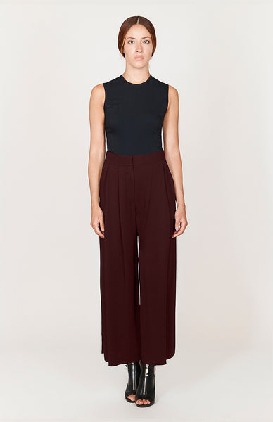Stretch Base Wide Pleated Pants