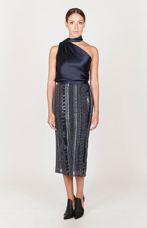 Sequin Straight Skirt w/ Satin Waistband - Capsule 3