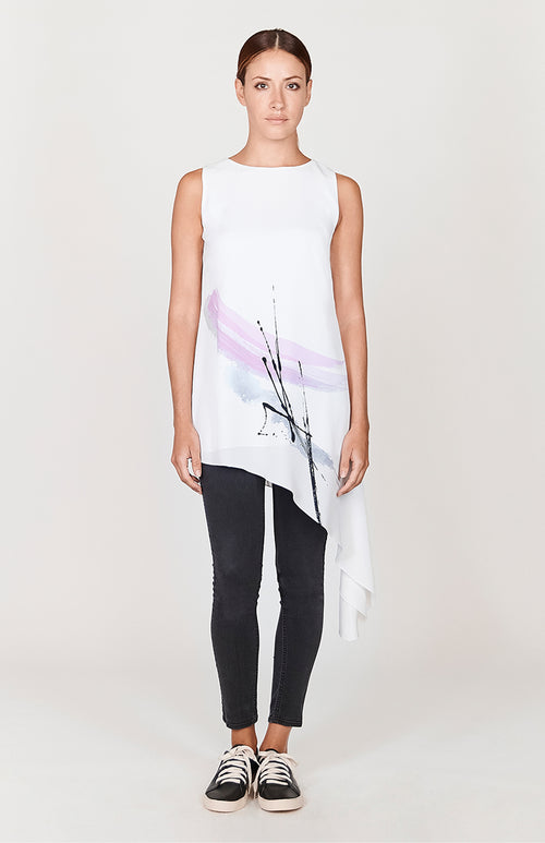 Abstract Brush Print Asymmetric Tunic